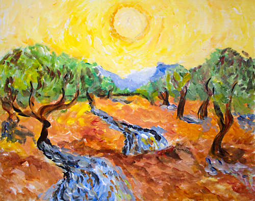 Van Gogh's Olive Trees with Yellow Sky and Sun