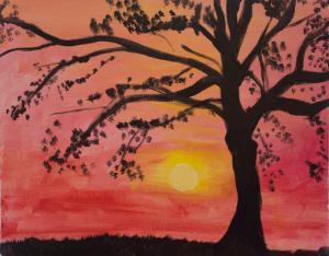 Magenta Sky and Elm Tree